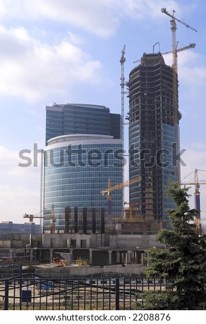 View at construction site of Moscow office center.