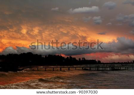 View at dusk. - stock photo