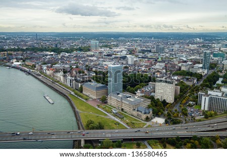 View at Dusseldorf skyline from the city TV tower - stock photo