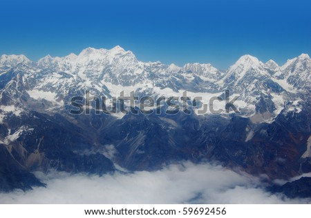 view at Himalayas and Mount Everest - stock photo