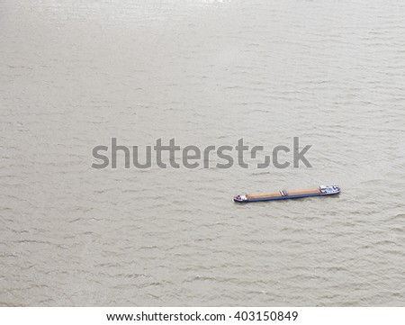 View at inland ship on lake from above - stock photo