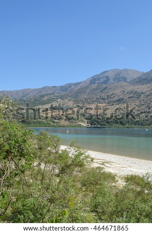 View at Lake Kournas near Rethymno in Crete, Greece