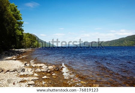 View at like Loch Ness, Highland, Scotland - stock photo