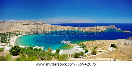 View at Lindou Bay from Lindos  Rhodes island, Greece - stock photo