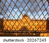 View at Louvre museum from inside of the pyramid - stock photo