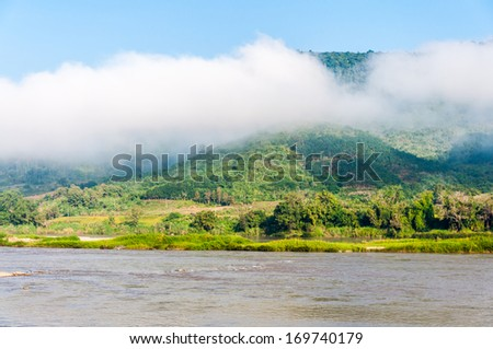 view at Mekong river in the morning - stock photo