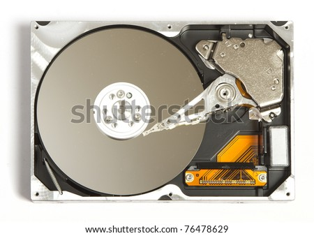 View at open hard disk from above
