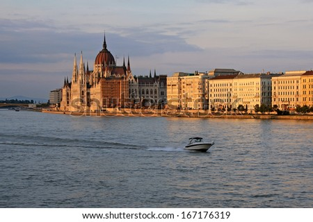 View at Parliament in Budapest at dusks - stock photo