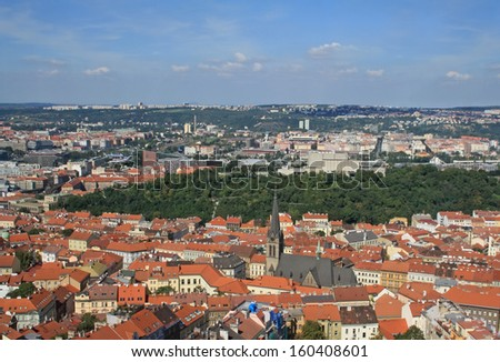 View at Prague with church of St. Prokop in Zizkov