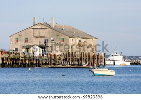 View at Provincetown bay to the boats and the ocean - stock photo