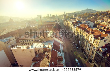 View at Sarajevo streets and buildings from high viewpoint - stock photo