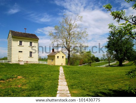 View at Shaker Village in Kentucky / Long Walk Home - stock photo