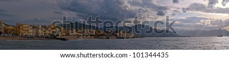 View at small town Aspra and cloudscape on coast of Sicily. - stock photo