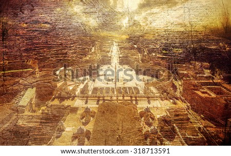 view at square in front of St. Peter's cathedral in Rome, Italy. Picture in retro style. - stock photo