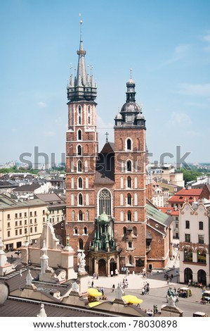 View at St. Mary's Church, famous landmark in Krakow, Poland. - stock photo