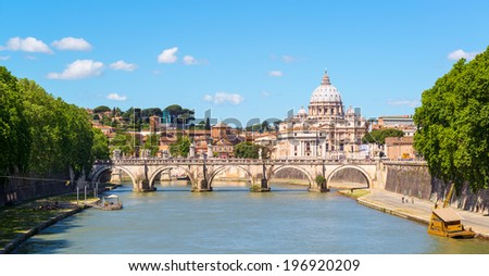 View at St. Peter's cathedral in Rome, Italy - stock photo