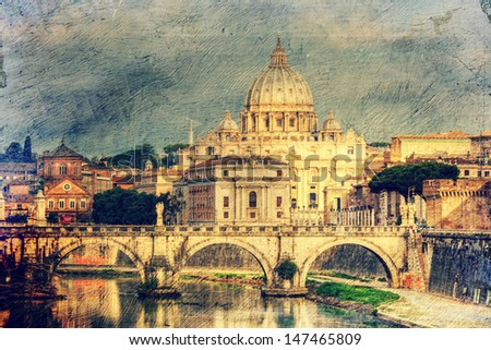 view at St. Peter's cathedral in Rome, Italy. Picture in artistic retro style.