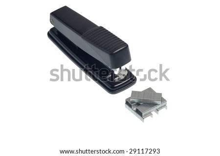 View at stapler and staples from the top - stock photo