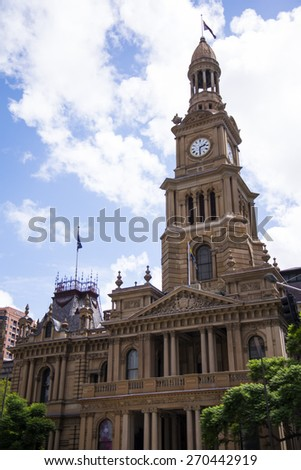 View at Sydney town hall in Australia. The Town Hall was built in the 1880s from local Sydney sandstone. - stock photo