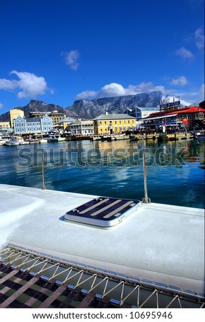 View at Table Mountain from catamaran's desk. Shot near Waterfront, Cape Town, Western Cape, South Africa.