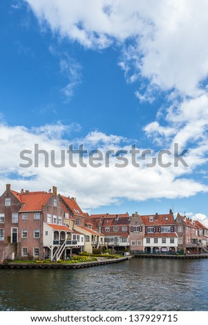 View at the ancient Dutch city Enkhuizen in summer - stock photo