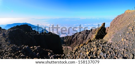 View at the back of Summit Rinjani, Lombok, Indonesia - stock photo