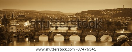 View at The Charles Bridge  and Vltava river in Prague in dusk - stock photo
