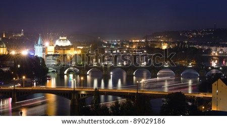 View at The Charles Bridge  and Vltava river, Prague in the dusk