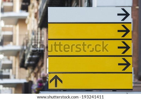 View at the empty street sign - stock photo