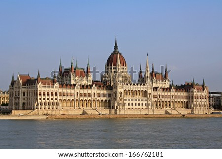 View at the Hungarian Parliament Building in Budapest - stock photo