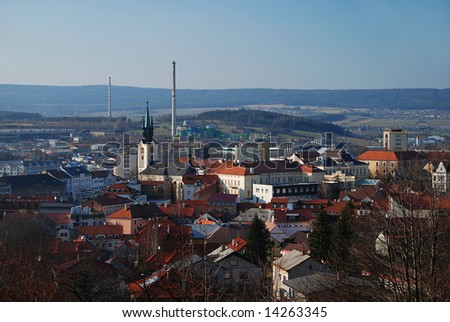 View at the industrial Czech city of Pribram in the Southern Bohemia