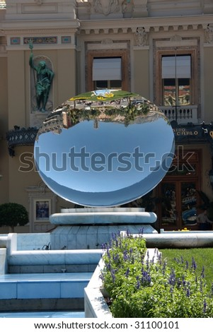 View at the mirror in front of the casino in Monte carlo, Monaco - stock photo