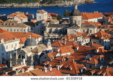 View at the Old Town in Dubrovnik from the walls