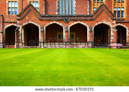 View at the Queen's University of Belfast in rainy day - stock photo