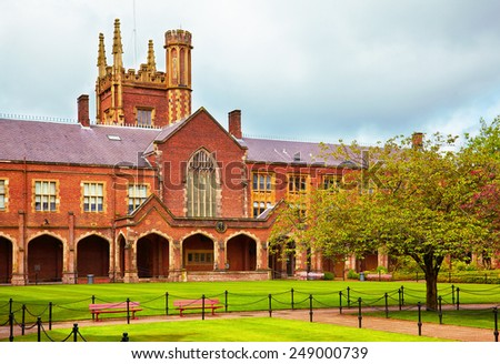 View at the Queen's University of Belfast in rainy summer day - stock photo