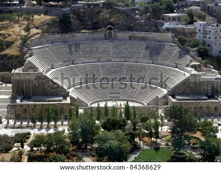 View at the roman amphitheatre in  Amman,Jordan - stock photo