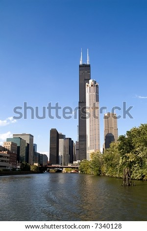 View at the skyline from Chicago river