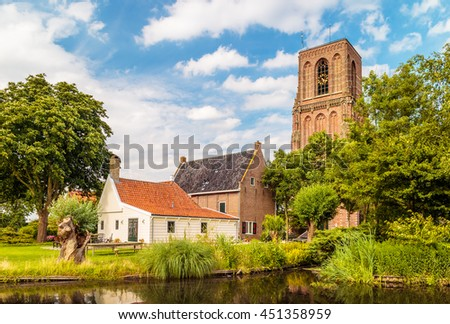 View at the small Dutch historic village of Ransdorp north of Amsterdam - stock photo