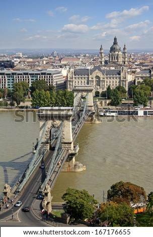 View at the Szechenyi Chain Bridge in Budapest - stock photo