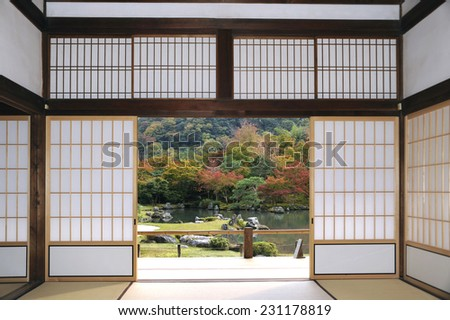 View at the Tenryu-ji Sogenchi Garden in Kyoto seen from theTenryu-ji, Shoin Drawing Room.This is a World Cultural Heritage site.  - stock photo