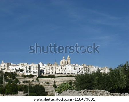 View at the white city Locorotondo in Puglia in Italy