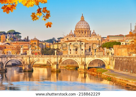 View at Tiber and St. Peter's cathedral in Rome - stock photo