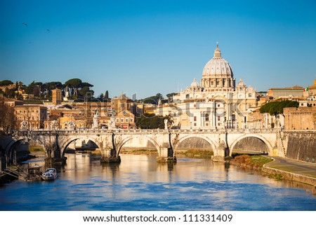 View at Tiber and St. Peter's cathedral in Rome, Italy