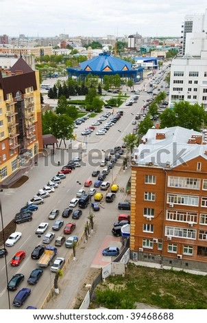 View at Tyumen city street with circus from top point