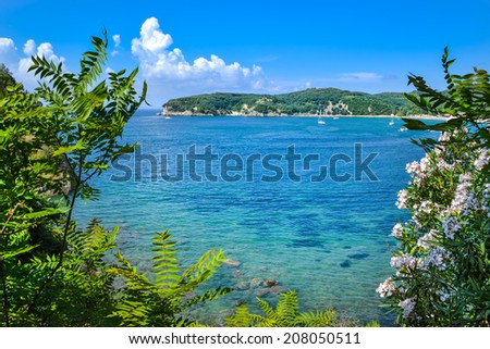 View at Valtos beach near the castle of Parga in Greece. - stock photo