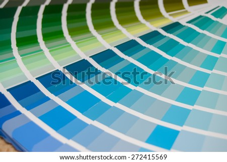 view blue palette of colors and shades. close up