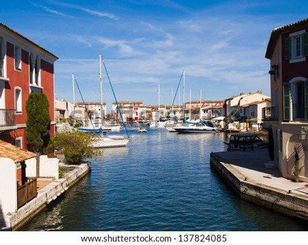 View canals in Port Grimoud, France - stock photo