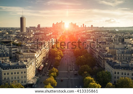 View Champs-Elysees with the sun, Paris  - stock photo