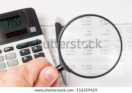 View digits on printout budget - stock photo