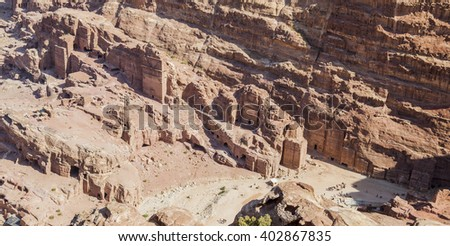 View down High Place of Sacrifice. Petra. Jordan.  - stock photo